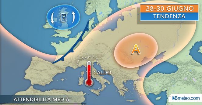 28-30 giugno: onda calda in risalita dal Nord Africa