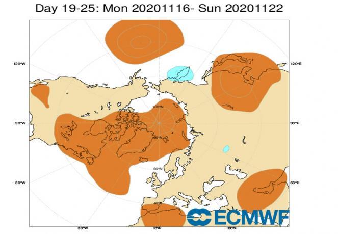 6-22 novembre: anomalie geopotenziale a 500 hPa fonte ecmwf