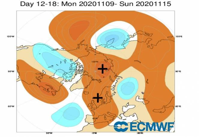 9-15 novembre: anomalie geopotenziale a 500 hPa fonte ecmwf