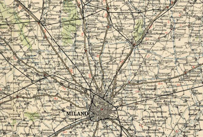 Mappa storica della zona a Nord di Milano nel 1908 (fonte: Touring club Italiano)