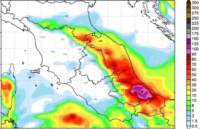 Accumuli pluviometrici (in millimetri) previsti per la giornata di mercoledì 15