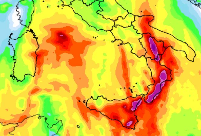 Accumuli pluviometrici previsti tra lunedì e martedì al Sud