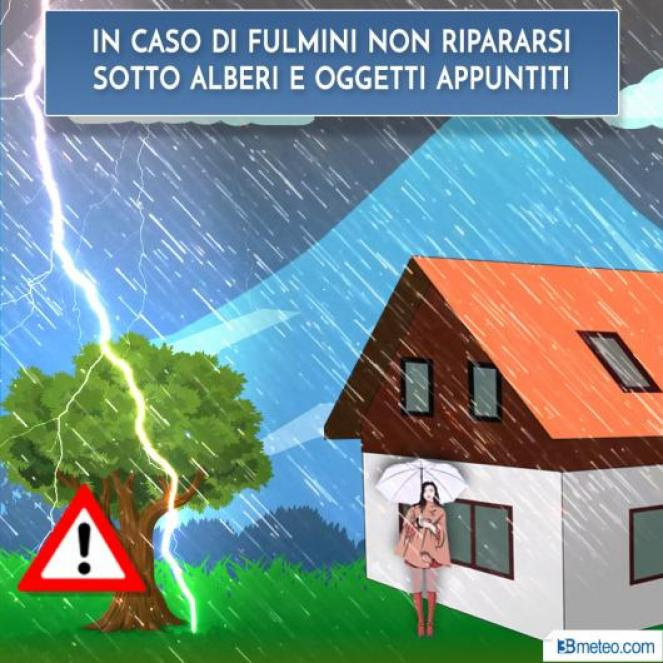 Al sopraggiungere di un temporale, evita di stazionare nei pressi di alberi o di oggetti appuntiti.