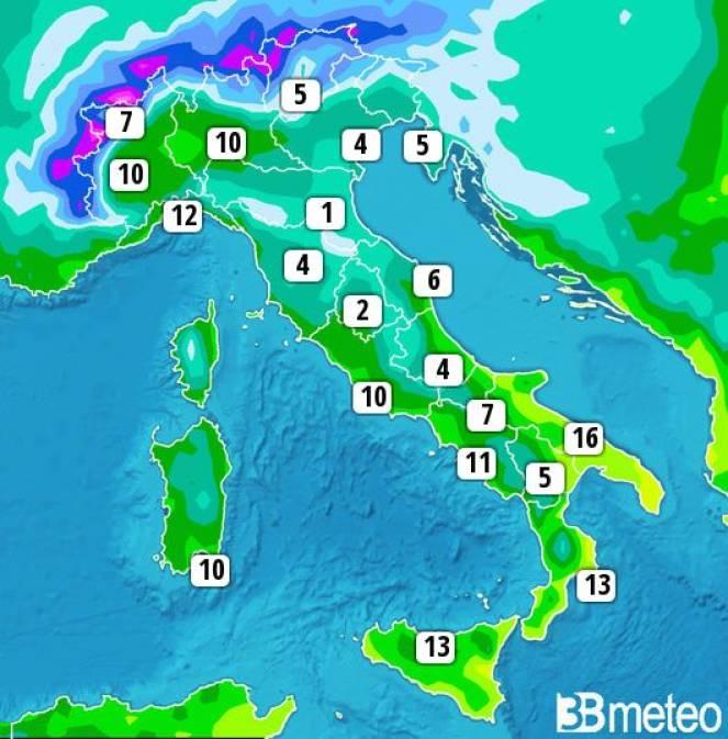 Meteo. Temperature in calo al centro-nord Italia, in lieve aumento al sud