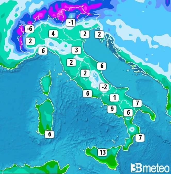 Alcune temperature minime previste per lunedì