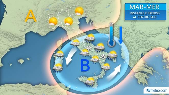 Ancora maltempo sull'Italia centro meridionale tra martedì e mercoledì