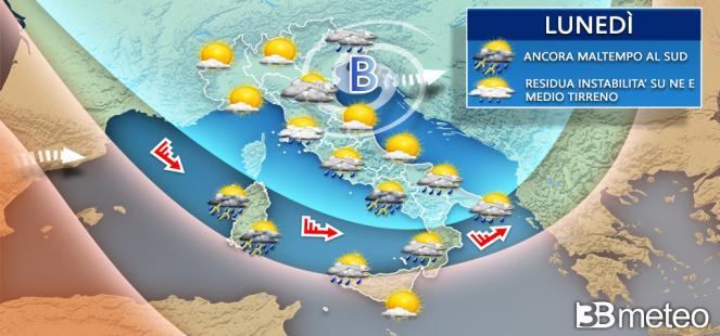 Ancora piogge e temporali attesi per lunedì