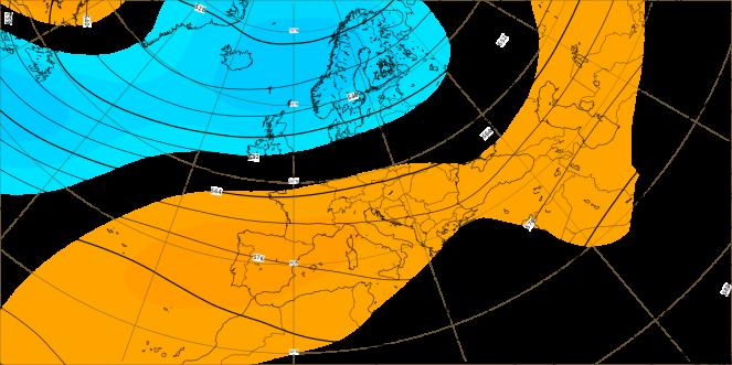 Anomalia dell'altezza di geopotenziale a 500 hpa (dati ECMWF)
