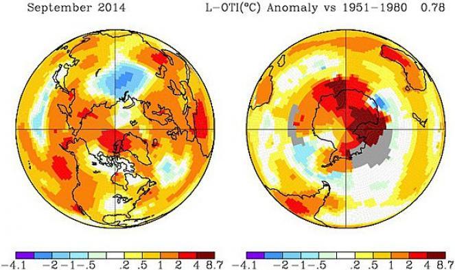 Anomalia satellitare globale di Settembre 2014 (fonte GISS)