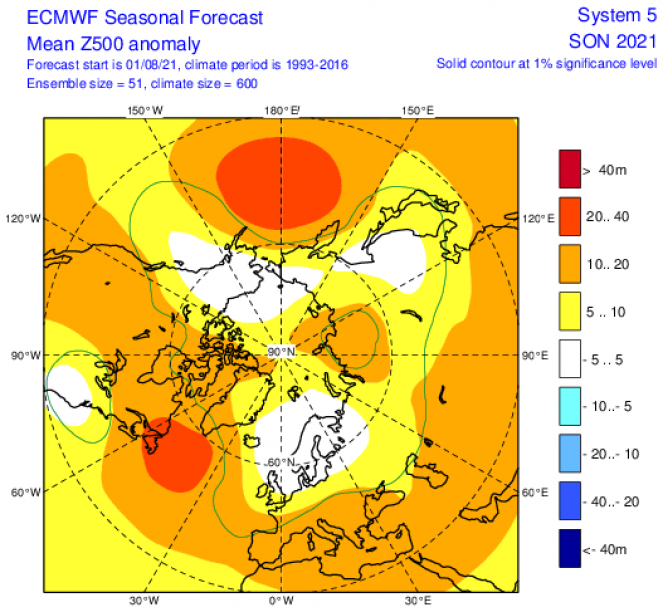 anomalie a 500 hPa secondo Ecmwf