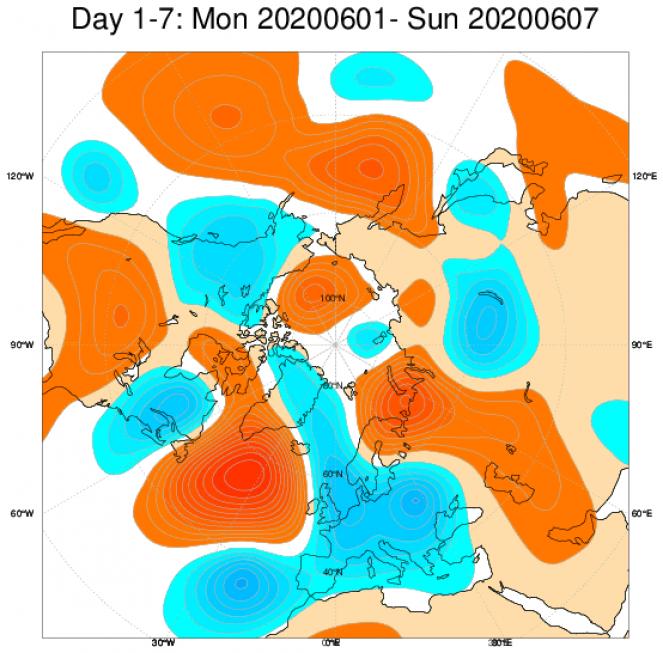 Anomalie di geopotenziale a 500hPa secondo il centro ECMWF mediate sul periodo 1-7 giugno
