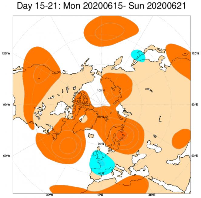 Anomalie di geopotenziale a 500hPa secondo il centro ECMWF mediate sul periodo 15-22 giugno