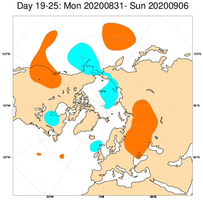 Anomalie di geopotenziale a 500hPa secondo il modello ECMWF mediate sul periodo 31 agosto - 6 settembre
