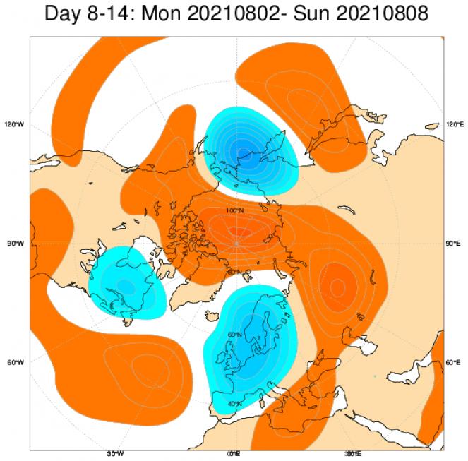 Anomalie di geopotenziale attese tra il 2 e l'8 agosto. Da ECMWF