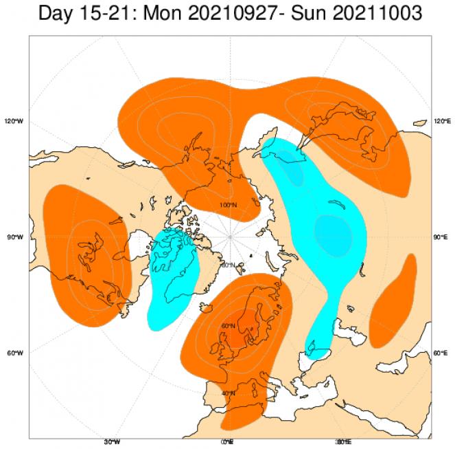 Anomalie di geopotenziale attese tra la fine di settembre e i primi giorni di ottobre nel piano isobarico di 500 hPa. Dal modello ECMWF.