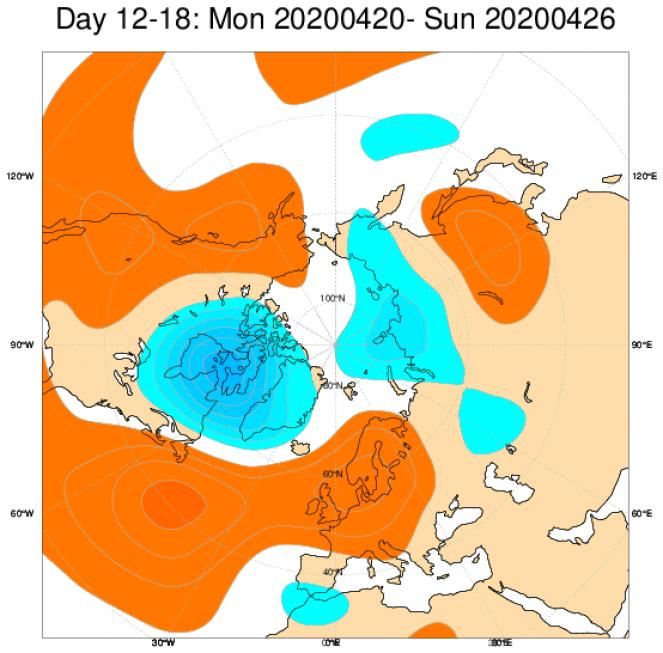 Anomalie di geopotenziali medie attese nel periodo 20-26 aprile secondo il modello ECMWF