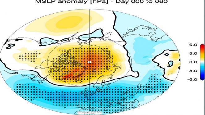 anomalie di pressione dopo eventi di Stratwarming ( cortesia di Sjoberg, Butler)