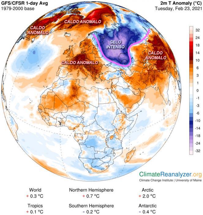 Anomalie di temperatura attuali
