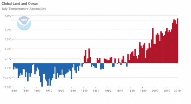 Anomalie di temperatura globale per il mese di luglio
