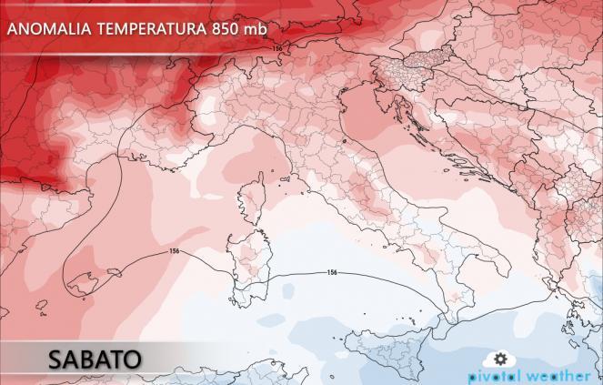 Anomalie di temperature a 850 hPa