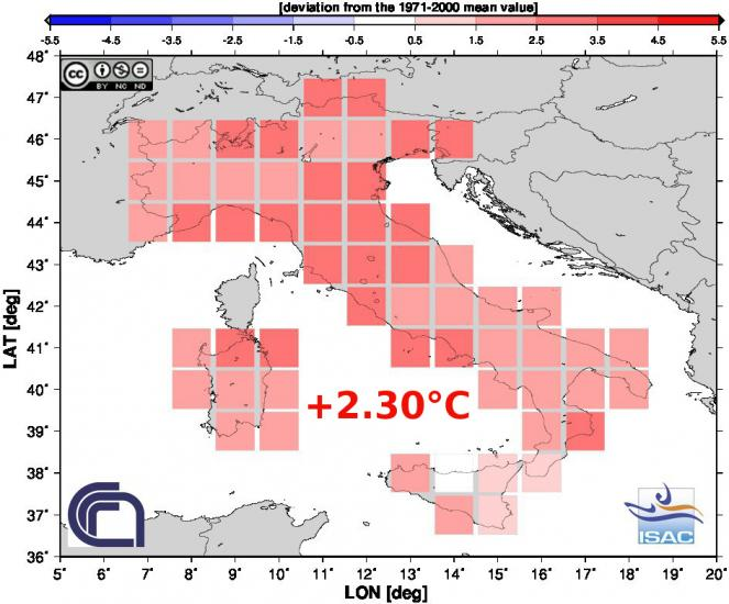 Anomalie di temperature Estate 2015 in Italia (fonte Isac-Cnr)