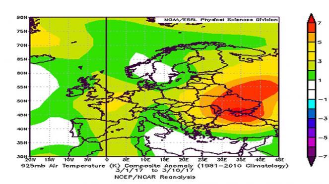 anomalie di temperature in Europa 1-18 marzo