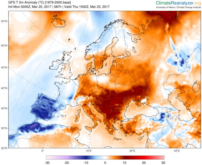 Anomalie di temperature previste giovedì