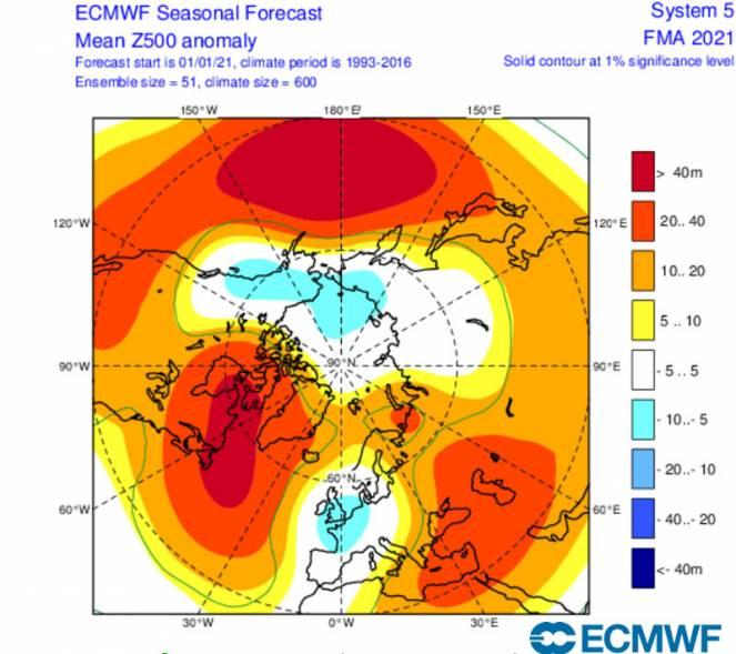 anomalie geopotenziale 500 hPa febbraio-aprile secondo ecmwf