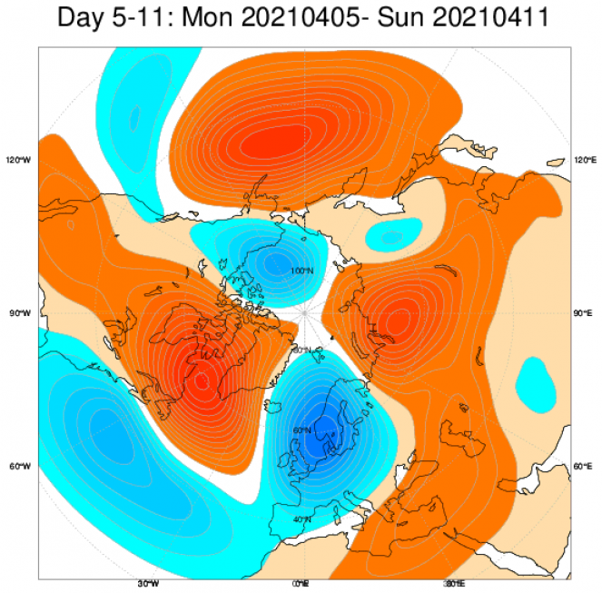 anomalie geopotenziale 500 hPa secondo Ecmwf