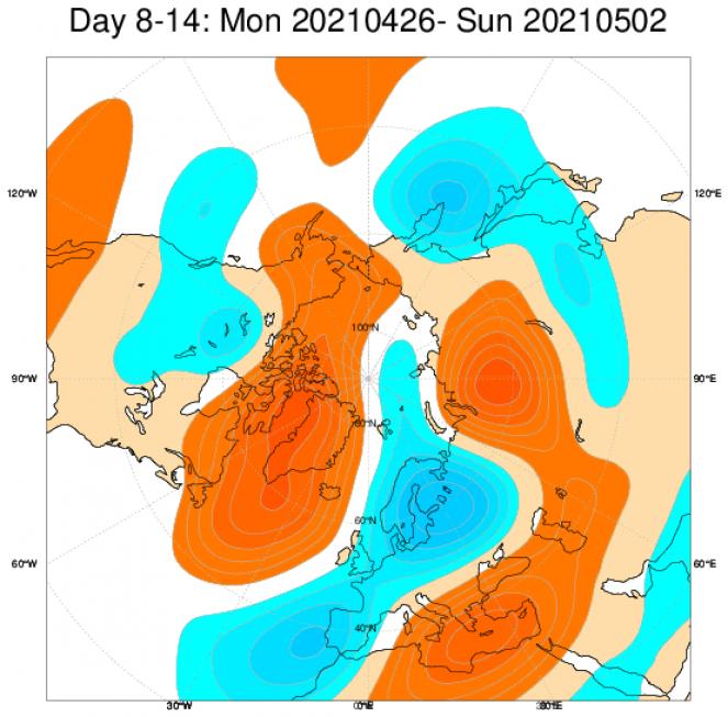 anomalie geopotenziale a 500 hPa secondo Ecmwf