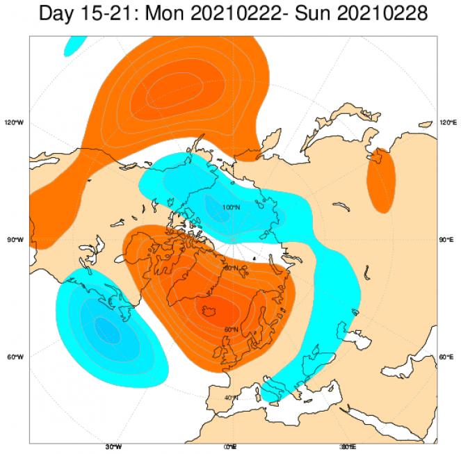 anomalie geopotenziali attese nel terzo decennio secondo Ecmwf