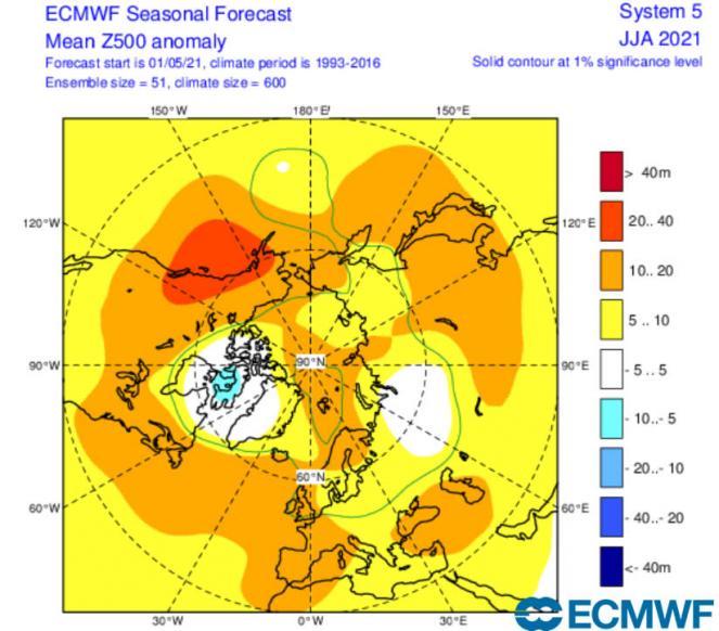 anomalie gpt 500 hPa per il trimestre giugno-agosto secondo Ecmwf