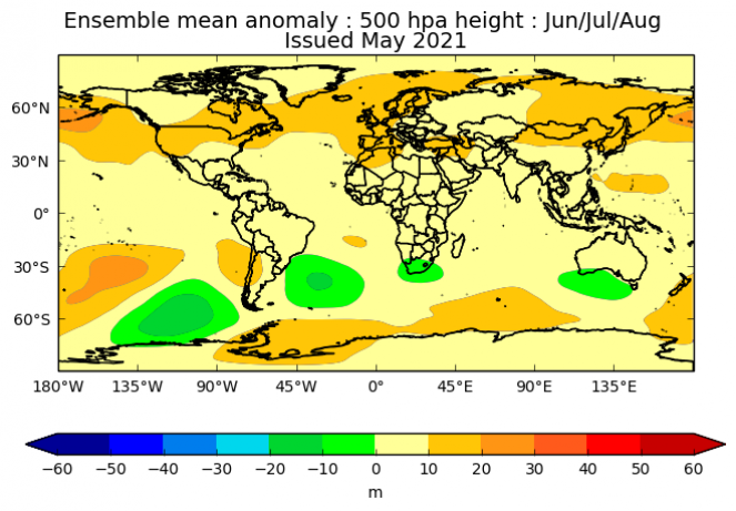 anomalie gpt a 500 hPa secondo il Met-Office