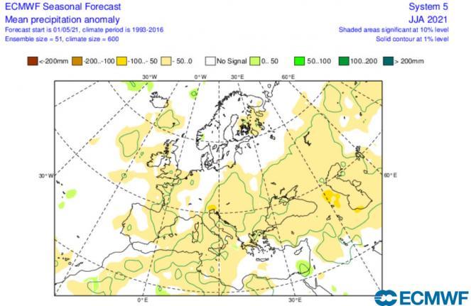 anomalie precipitazioni per il trimestre giugno-agosto secondo Ecmwf