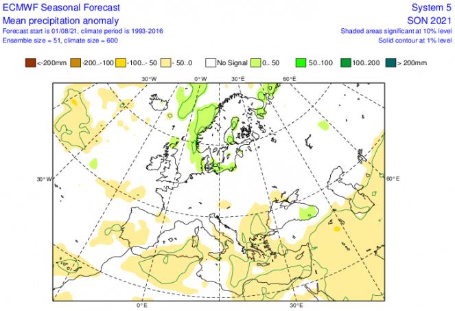 anomalie precipitazioni secondo Ecmwf