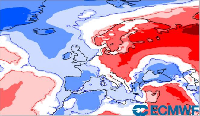 anomalie temperatura a 2m secondo ecmwf nel periodo 10-16 maggio