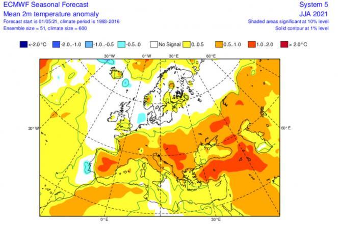 anomalie temperature a 2m per il trimestre giugno-agosto secondo Ecmwf