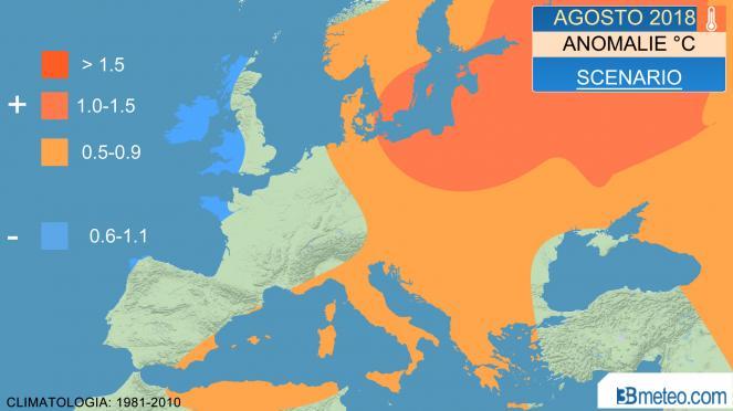 anomalie temperature agosto 2018