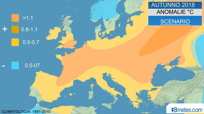 anomalie temperature autunno 2018