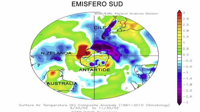 anomalie temperature dopo evento di SSW nell'emisfero sud del 2002