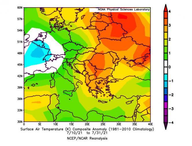 anomalie temperature tra Italia ed Europa orientale