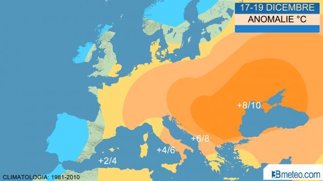 anomalie termiche attese in Europa