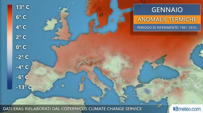 Anomalie termiche di gennaio 2020 in Europa
