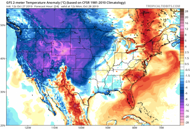 Anomalie termiche rispetto alla norma (GFS)