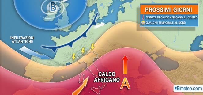 Anticiclone nord africano in espansione verso il Centro-Sud Italia