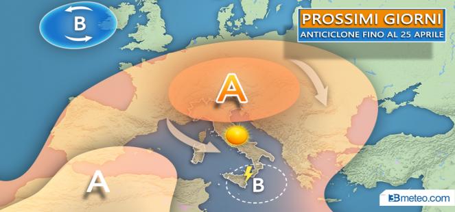 ANTICICLONE fino al 25 aprile: ASSAGGIO D ESTATE al Nord, al Sud brevi temporali