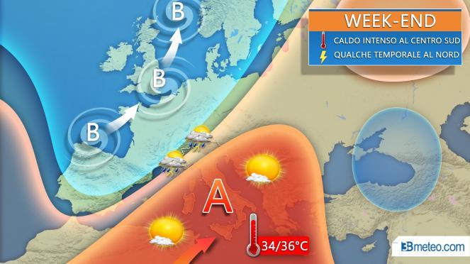 Anticiclone subtropicale in rinforzo nel week-end sul Mediterraneo