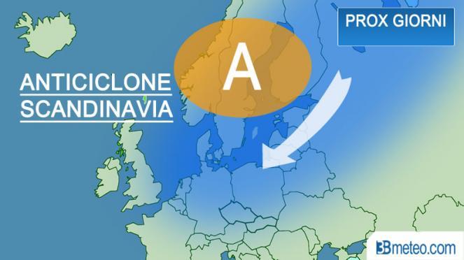 anticiclone sulla Scandinavia