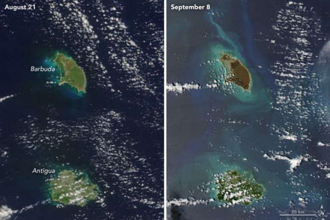 Antigua e Barbuda il 25 agosto e il 10 settembre 2017. Joshua Stevens / NASA Earth Observatory / Landsat 8 - OLI
