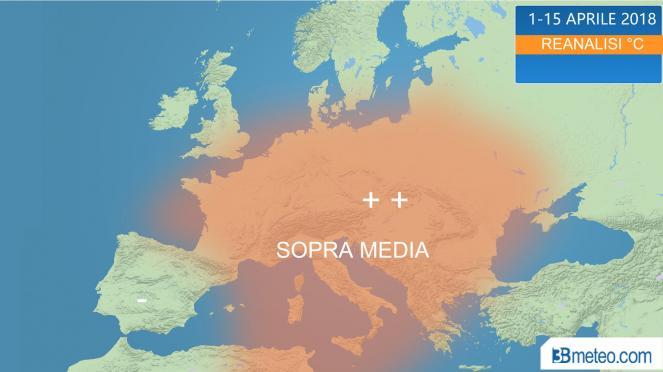 aprile, termicamente sopra media in Europa